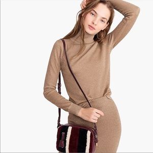 J. CREW NWT Gold Metallic Turtleneck Sweater M